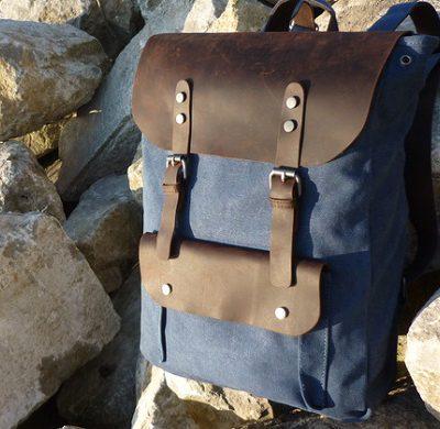 Vintage Segeltuch Leder Rucksack