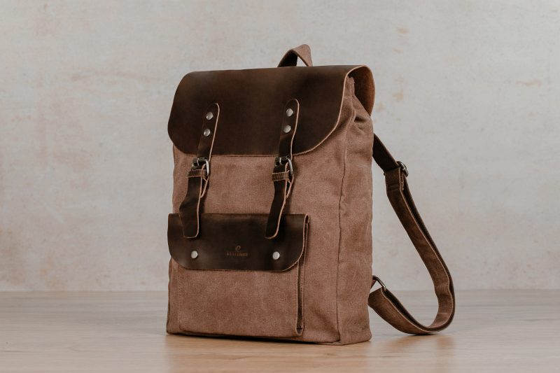 northern light bag backpack sailcloth canvas leather jasper brown