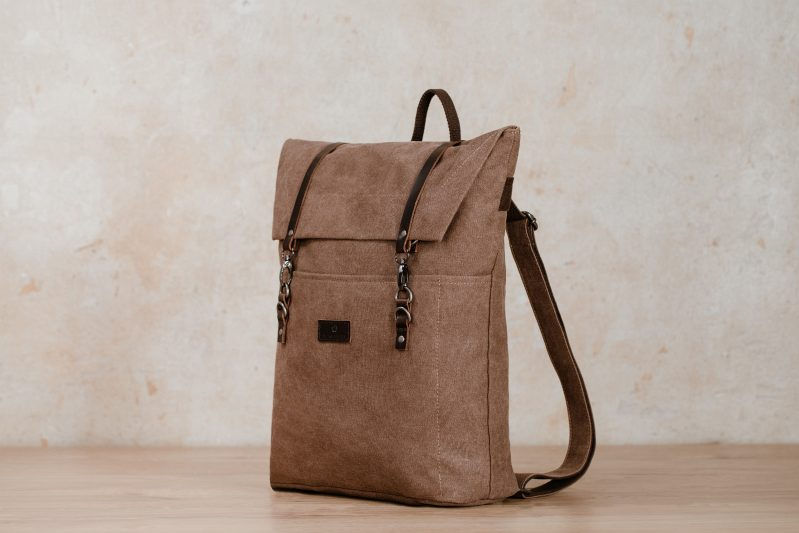 jonte backpack northern light grey canvas vintage backpack brown