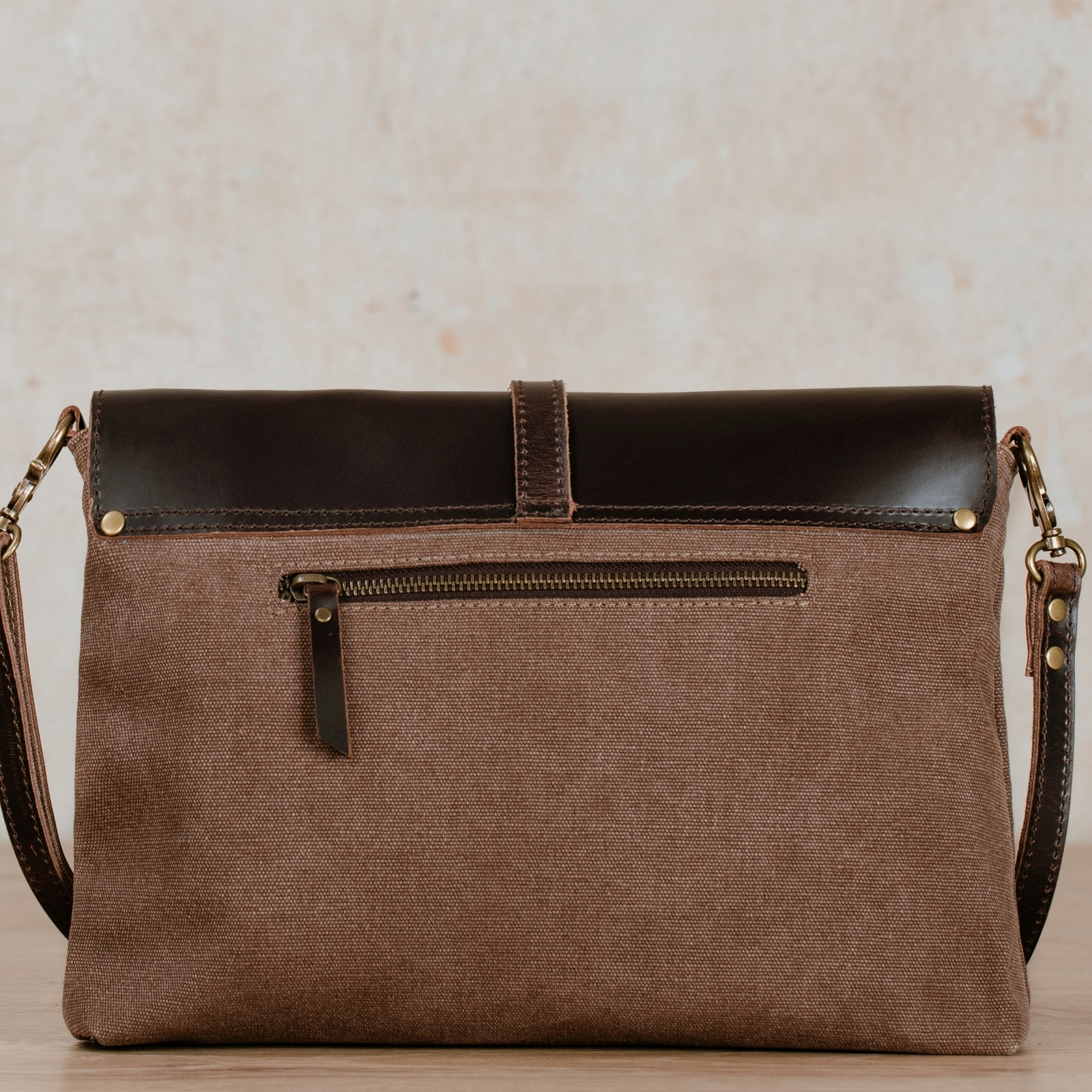 bag kaia brown in sailcloth and leather
